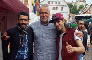 Ahmad Aslaoui (Islamisches Zentrum Dresden),  Heiner Dinglinger (Buddhistisches Kulturzentrum Sachsen e.V.),  Arua MC Peace (Flüchtling und syrischer Rapper aus Yarmuk, Damaskus)